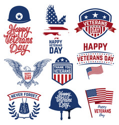 Set of happy veterans day emblems emblems with vector