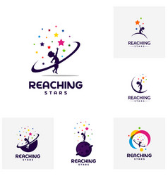 Set of reaching stars logo design template dream vector