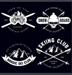 set vintage snowboarding ski or winter sports vector image