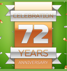 seventy two years anniversary celebration design vector image