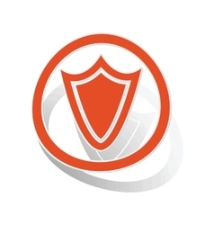 Shield sign sticker orange vector