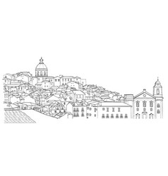 Sketch of lisbon cityscape view vector
