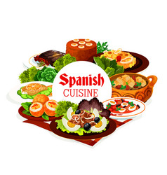 spanish cuisine food seafood meat vegetables vector image