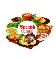 Spanish cuisine food seafood meat vegetables vector