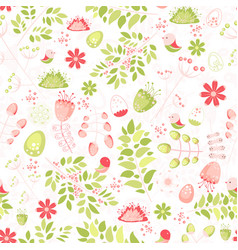spring fresh seamless pattern with birds leaves vector image