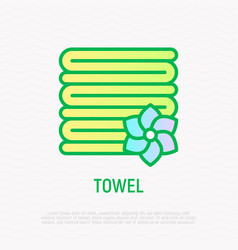 stack of folded towels thin line icon vector image