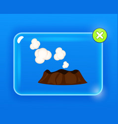 Steaming or sleeping volcano with white clouds vector