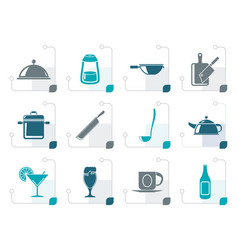 Stylized restaurant cafe food and drink icons vector