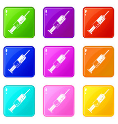 Syringe icons 9 set vector
