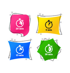 timer icons five minutes stopwatch symbol vector image