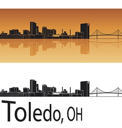 Toledo skyline in orange background vector