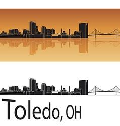 Toledo skyline in orange background vector image