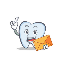 Tooth character cartoon style with envelope vector