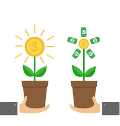 two businessman hand holding growing paper money vector image