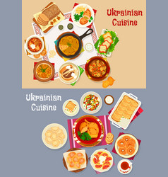 ukrainian cuisine restaurant dinner icon set vector image