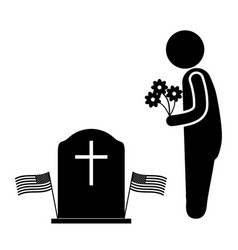 Visit grave with flowers during memorial day vector