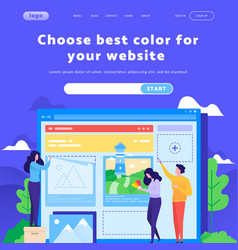 web site design template team choose color vector image