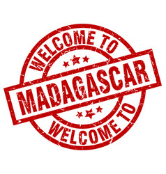Welcome to madagascar red stamp vector