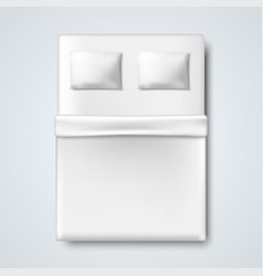 White bed with pillow and blanket vector