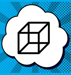 wired cube sign black icon in bubble on vector image