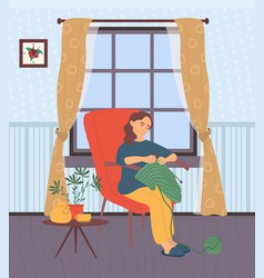 Woman knitting at home lady with needles hobby vector