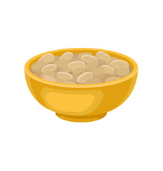 Yellow ceramic bowl full of peeled peanuts tasty vector
