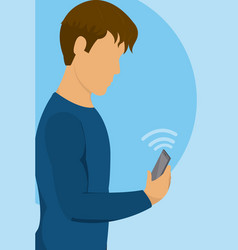 Young man with smartphone on internet wifi signal vector