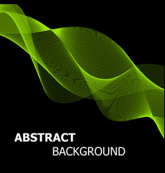 abstract green line wave background vector image vector image