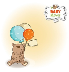 baby shower card with little teddy bear vector image