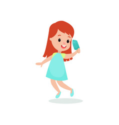 beautiful redhead girl feeling happy with her ice vector image