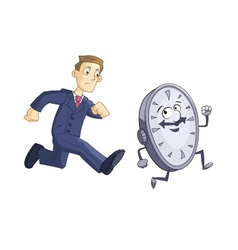 Businessman is chasing time vector image vector image