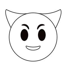 devil emoticon funny thin line vector image