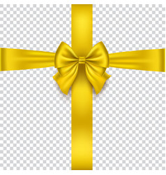 realistic gold bow isolated on transparent vector image vector image
