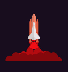 Space shuttle launching the satellite take-off vector