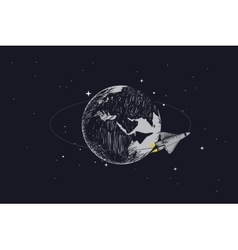 spaceship orbiting at the Earth vector image vector image
