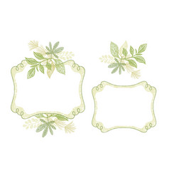 swirl frame set with green floral ornament vector image vector image