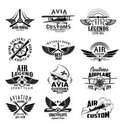 Aviation retro airplane sport team icons vector