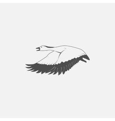 flying goose in grayscale vector image vector image