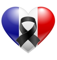 French flag heart with black mourning ribbon vector image vector image