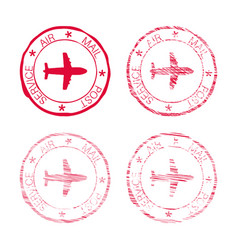 Air mail post service red faded round stamp vector