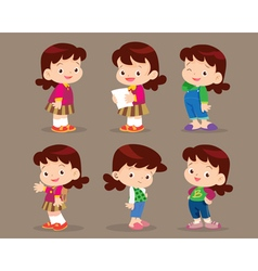 cute cartoon girl actions set vector image
