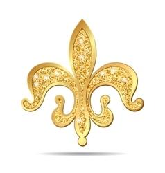 Golden fleur-de-lis heraldic symbol vector image
