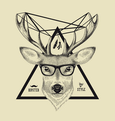 Hand drawn of a deer head in hipster style vector image