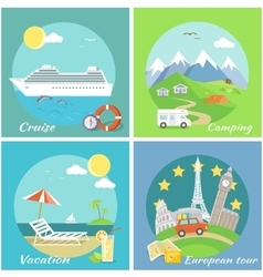 Set Concept Vacation Camping Cruise vector image