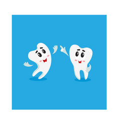 two funny tooth characters looking pointing up vector image vector image