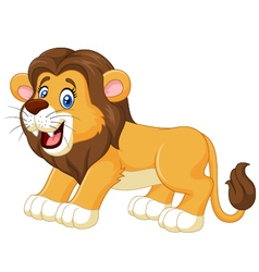 Cartoon happy lion isolated on white background vector