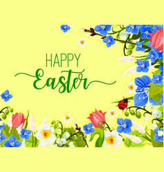 easter spring flowers wreath greeting card vector image