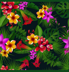 exotic summer tropical flowers seamless vector image