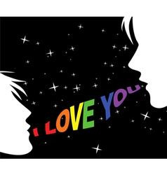 Gay couple and words of love vector image