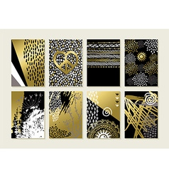 Set of gold hand drawn abstract art card designs vector image
